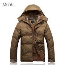 Мода руно куртка с капюшоном пальто мужчины зимний нейлон мужская мужской утолщение пуховик пальто вниз — пальто E439