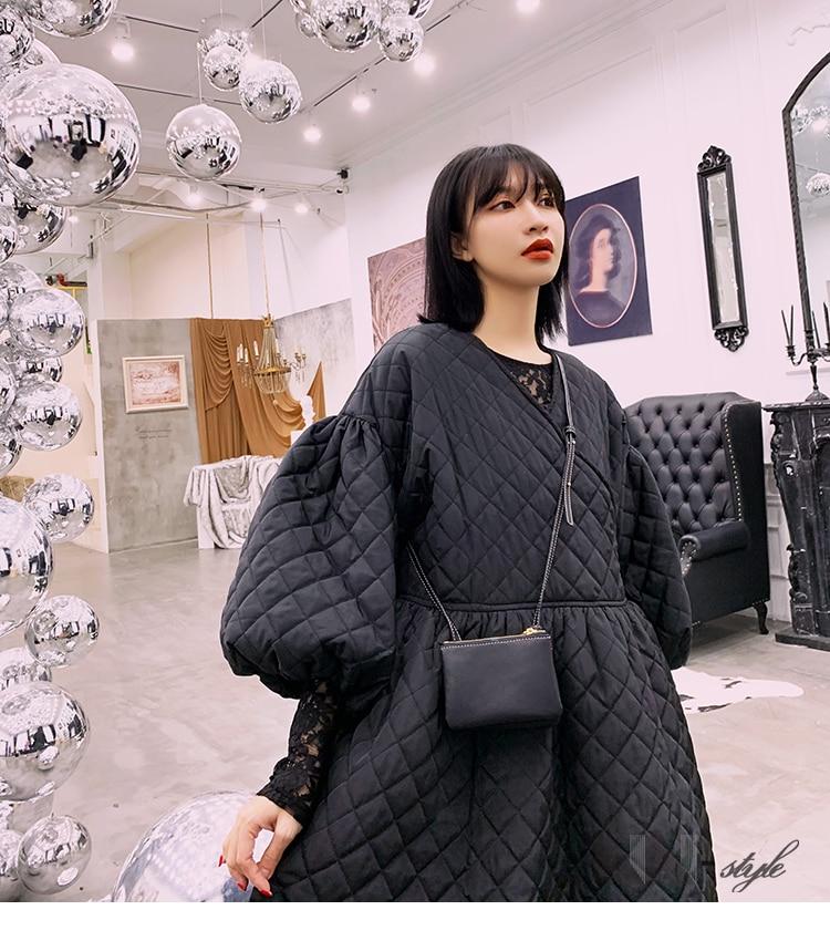 Bf Surdimensionné Genou Pardessus Coréen Style Bouffantes Hiver Dame Femmes Noir Manches Coton Longueur Manteau Chaud Personnels wfxI8q