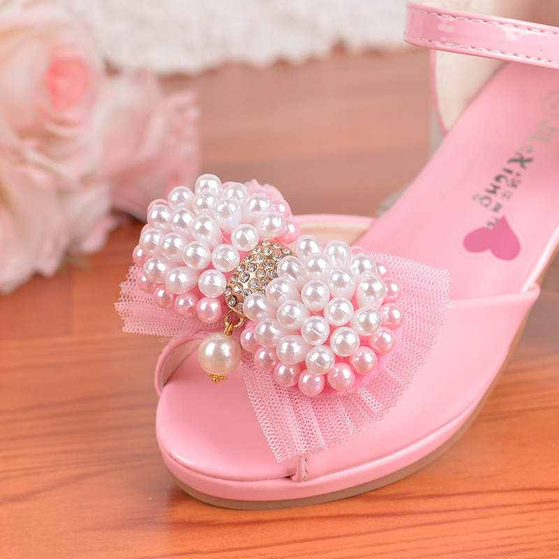 New childrens high heels 2018 summer girls sandals string Jane bow princess shoes large size little girl shoes 26-38