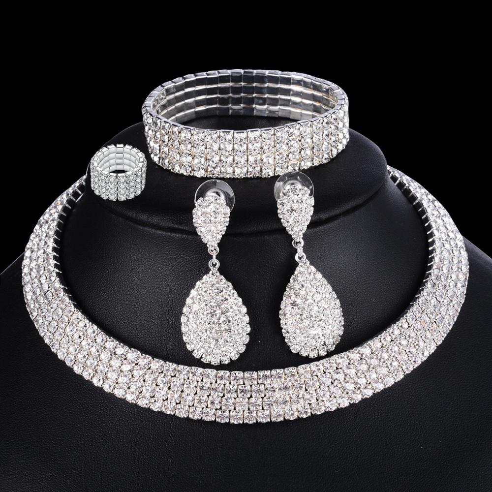 2a50a6e5d4 US $2.49 40% OFF|Wedding Jewelry Silver Rhinestone African Earrings  Bracelet Ring Set Bridesmaid Jewelry Sets for Women Layered Choker Necklace  -in ...