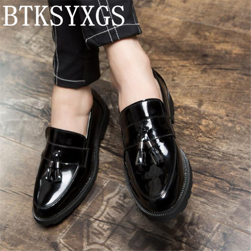 BTKSYXGS 2017 Men's casual shoes leather Tide fashion pointed Toe Brogue Tassel British style Comfortable/37-48 Men flats shoes pointed toe tassel leather shoes men slip on brogue shoes flats british style rivet shoes casual loafers chaussure homme 022