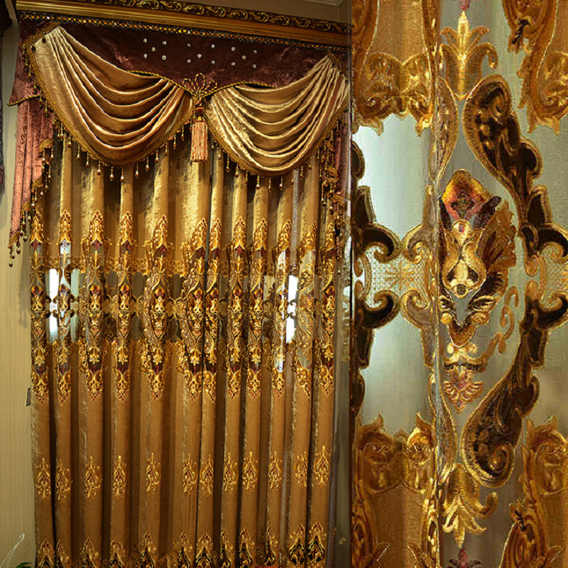 European Curtains For Living Room Chenille Embroidered European Villa High-end Luxury Curtains For Bedroom Finished