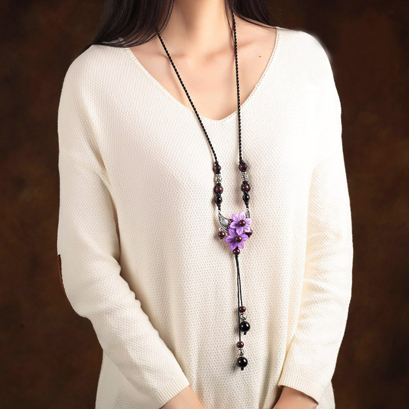 Statement necklace 2017 new fresh shell flower ceramic hangings lanyards chinese style necklace women national trend design