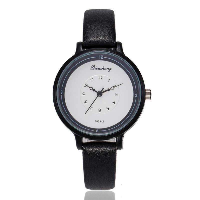 2019 haute qualité femmes montre décontractée à la mode de luxe robe dames en cuir bande analogique Quartz montre-bracelet horloge relogio J13 # N
