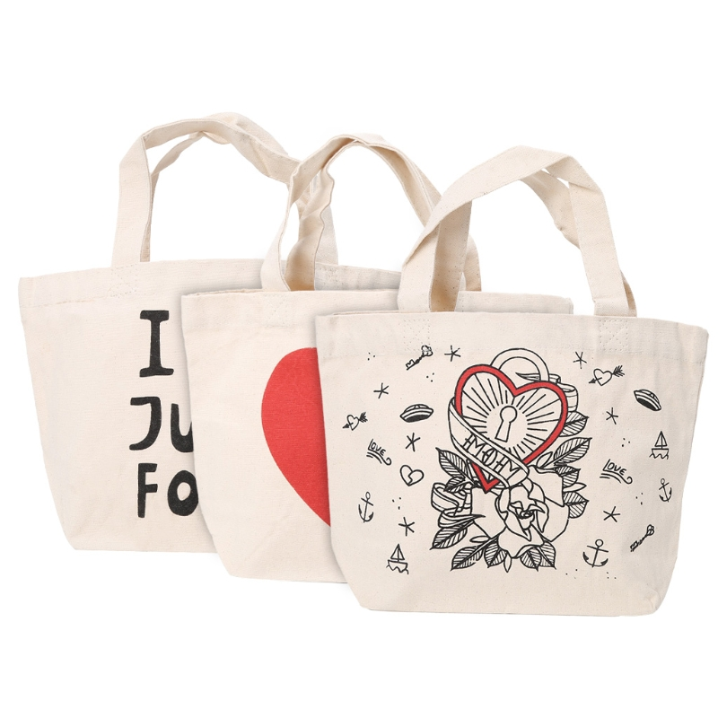 Canvas Handbags Girls Tote Picnic Lunch Bag Beach Shoulder Shopping Bags