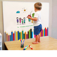 Cartoon Colorful Pencil Warm Family Little House Green Tree Wall Stickers For Kids Rooms Christmas Decorations