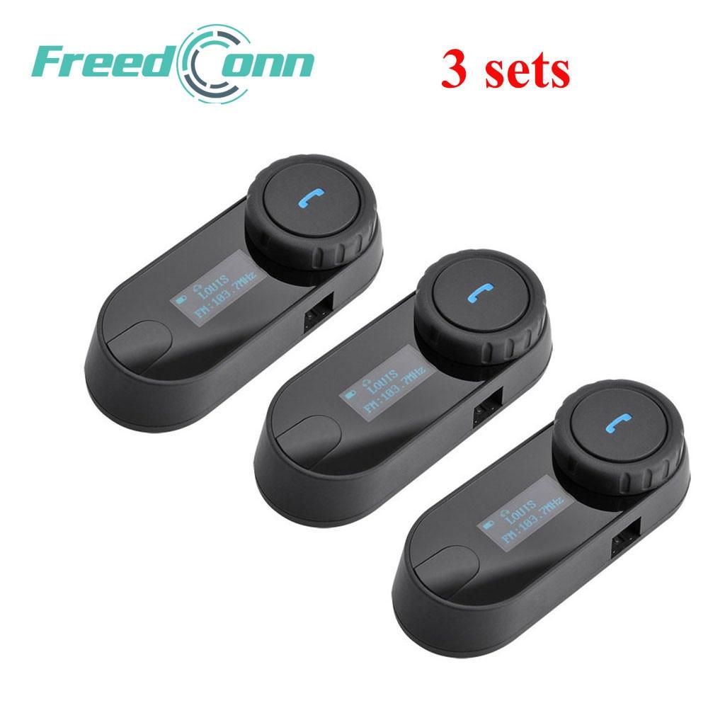 FreedConn 3 pcs Updated TCOM SC BT Bluetooth Motorcycle Helmet Intercom Interphone Headset with LCD screen