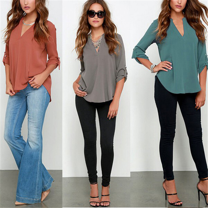 HTB1wQM6CxGYBuNjy0Fnq6x5lpXaK - Autumn Women V-neck Chiffon Blouse 3/4 Sleeve Female Solid Casual Shirt Large Size Feminina Camisas Blusas Plus Size