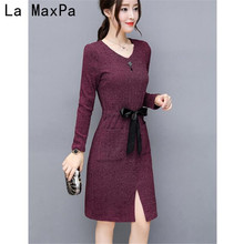 2017 Autumn Women long sleeve Dress Casual Knitted V Neck Dress with Pockets High Quality Elegant