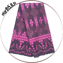 Nigerian Latest Lace Fabric 2019 Fushia Pink Grey French Tulle High Quality Wedding Material With Stones