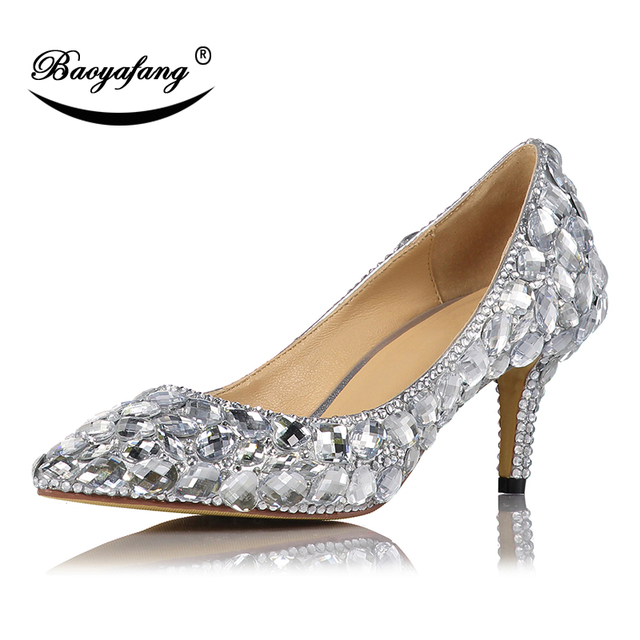 55d2ef470c94 BaoYaFang 7cm Sweet Heels Pointed Toe Crystal Party dress shoes Silver Wedding  shoes High quality real leather shoes woman