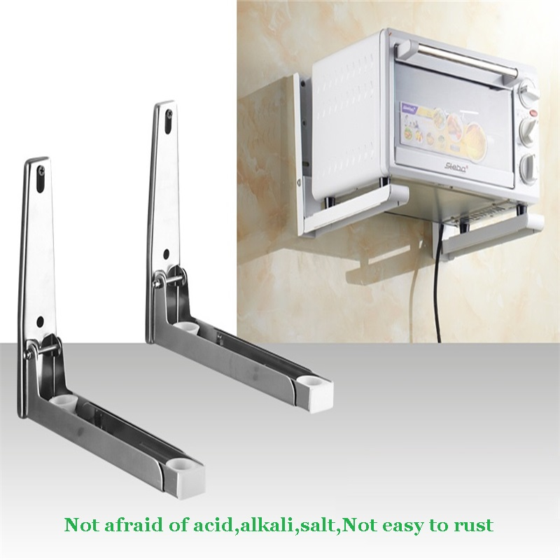 Stainless Steel Microwave Shelf Bracket Wall Mount Oven Folding Kitchen Storage Holders