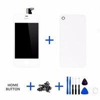 Buena quailty 1 unids contraportada + botón para iPhone4 pantalla LCD pantalla táctil con digitizador Asamblea reemplazo cinco partes