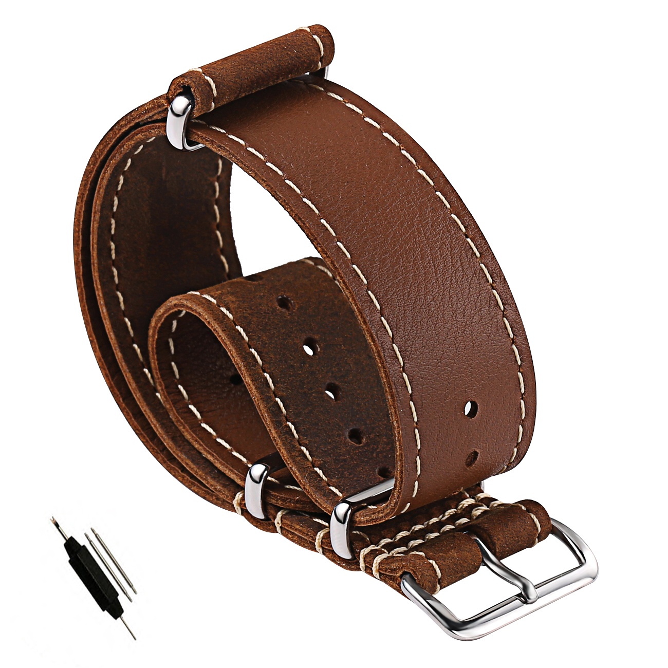 Carty 20mm 22mm Leather NATO Strap Replacement watch band Vintage Crazy Horse Handmade Leather Watch Strap Zulu Soft Waterproof vintage genuine leather high end crazy horse skin watch strap 18mm 20mm 22mm 24mm 26mm for nato zulu men woman brown watch band