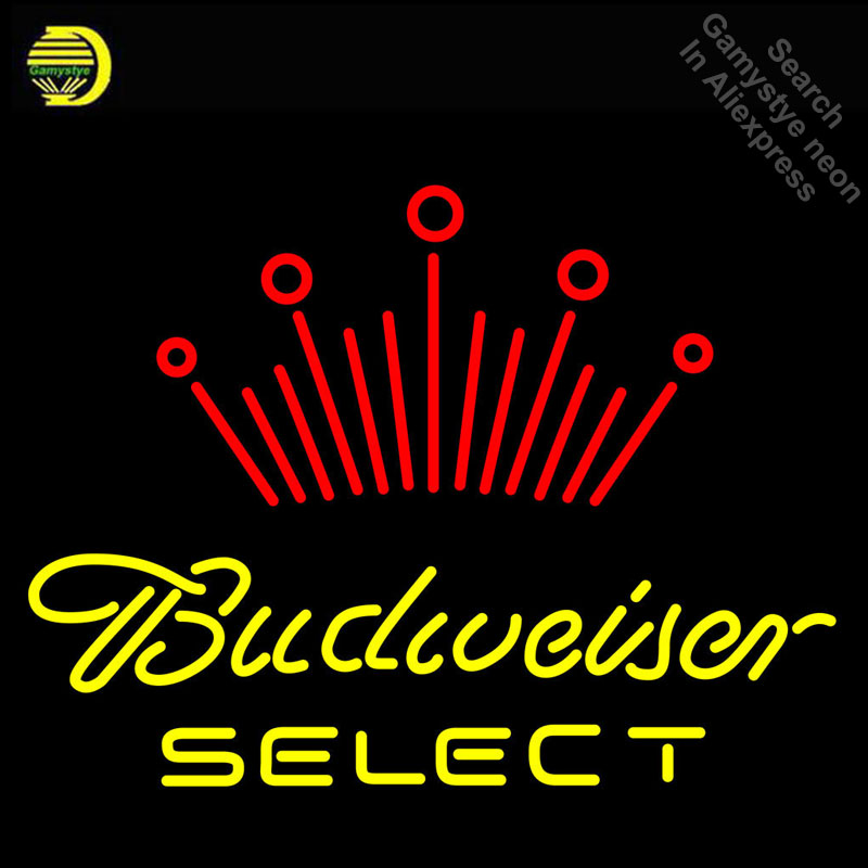 Budweise Select Neon Sign Neon Bulbs Sign GLASS Tube Handcraft neon Light Signs Advertise cool vintage neon lamps Dropshipping