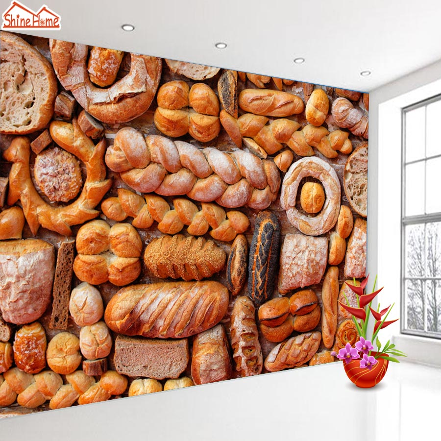 ShineHome-Food Bread Bake Bakery Wall 3d Wallpaper for Walls 3 d  Living Room Background Wallpapers Mural Roll Wall Paper shinehome maple leaf floral golden wallpaper for 3d rooms walls wallpapers for 3 d living room wall paper murals mural roll