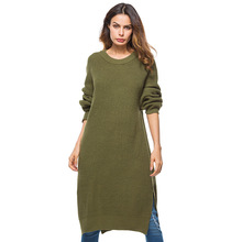 2018 Fashion Women Clothing Long Loose Sweaters Dresses Large Size Soft Elastic Pullovers Dress Ladies Hem Open Fork Knitted Swe