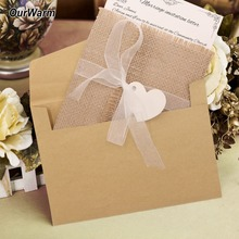 OurWarm 50pcs Vintage Wedding Invitation Card Kit Rustic Retro Style Birthday Party Supplies Write on Your Blessings Burlap
