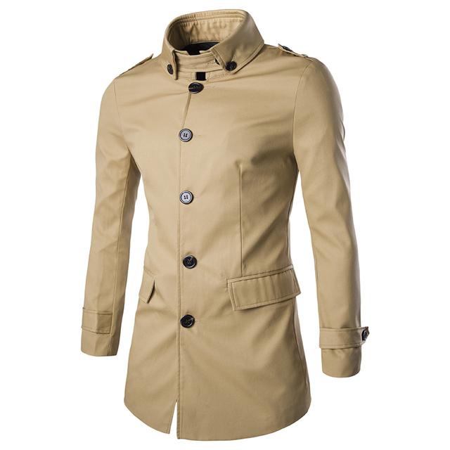 5 colores 2016 Otoño Invierno Gabardina larga hombres hombres collar del Soporte de Foso Delgada Abrigos Chaquetas Más El tamaño M-3XL MQ448