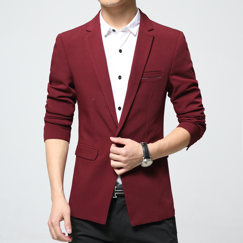 Mens Full Sleeve Jacket Long Sleeve Blazer Black Red Blue Spring Korea Style Autumn Men Slim Fit