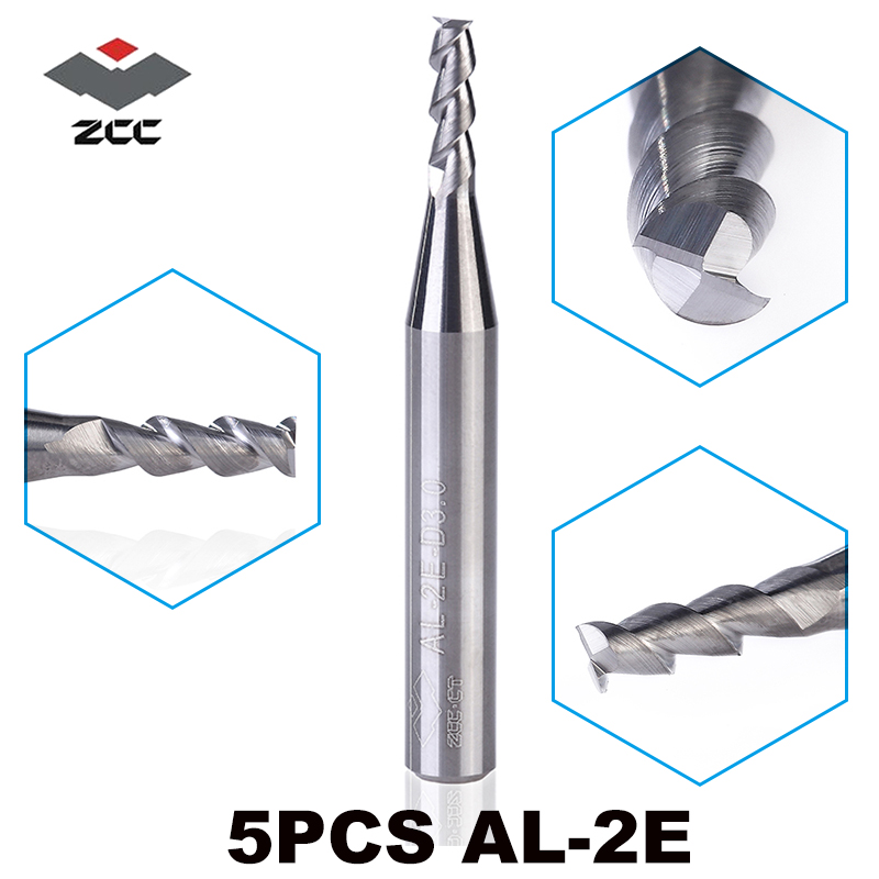 5pcs/lot AL-2E-D1.0-D6.0 ZCC.CT Solid Carbide 2 Flute Flattened End Mills Straight Shank Milling Cutter For Aluminium Machining