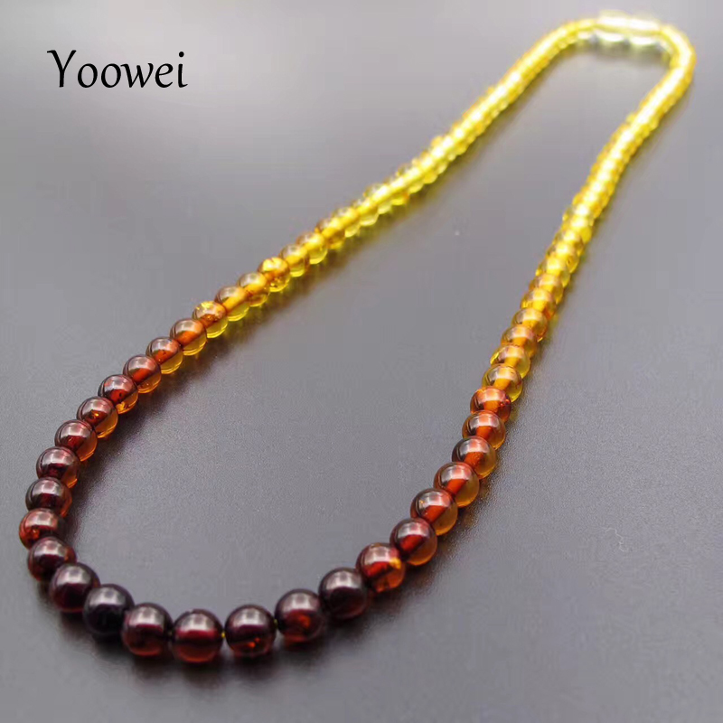 Yoowei 5mm Amber Necklace for Etsy Original Round Beaded Jewelry 