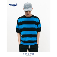 SODA WATER Oversized o neck short sleeve sweater stripe thin half sleeve mens sweater spring summer clothing men 8167S