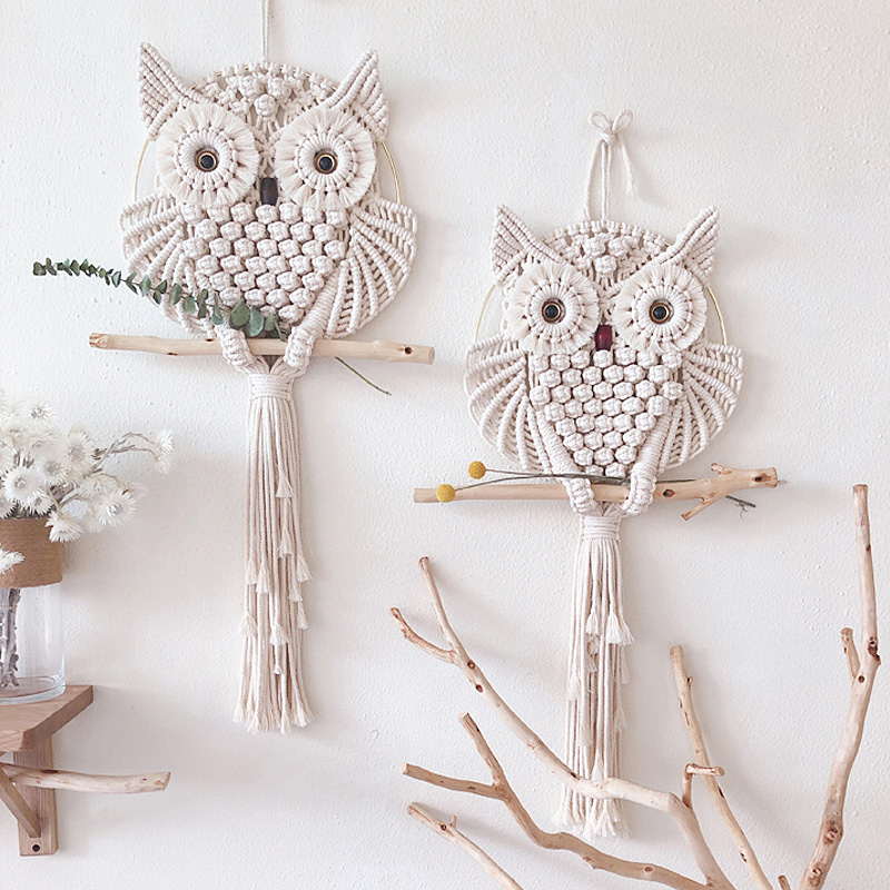 30cm 70cm Original Owl Tapestry Wall Hanging Boho Decor Hand woven Ins Macrame Mandala Home Wall