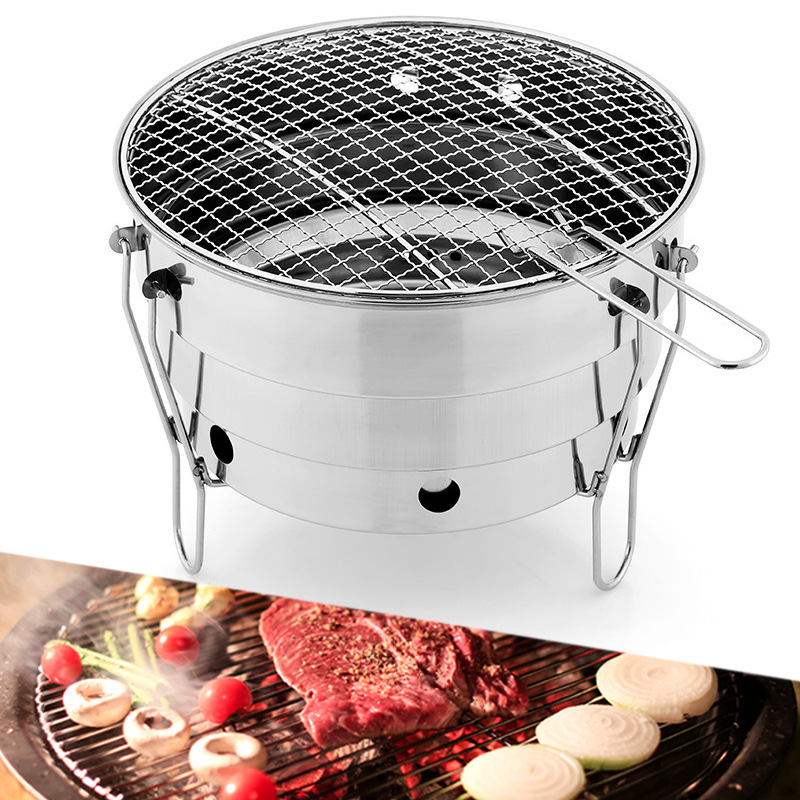 Foldable Portable Cooking Outdoor Camping Stove for Home Patio Stove Family Party Stainless Steel Barbecue Charcoal BBQ Grill