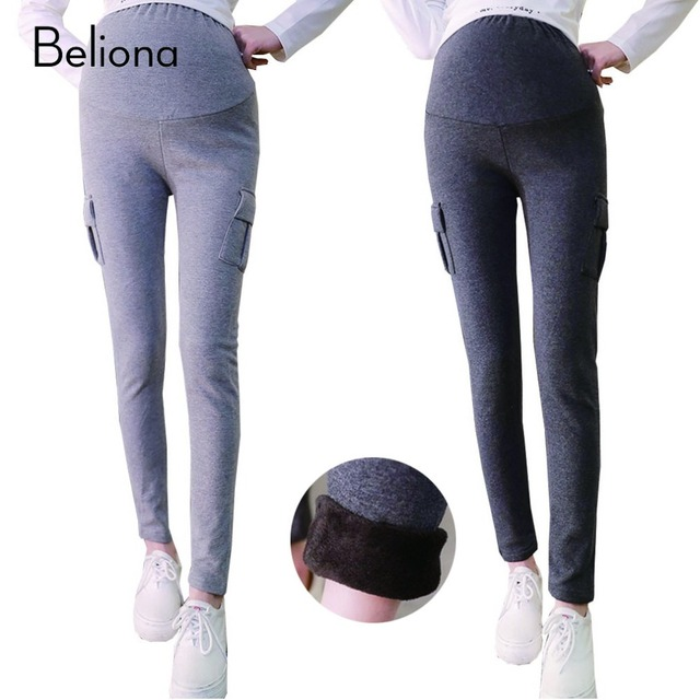 2b6aa14a9717 Maternity Winter Clothes for Pregnant Women Plus Size Pregnancy Legging Pants  Plus Velvet Warm Maternity Leggings