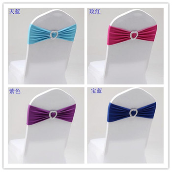 EXPRESS FREE 100PCS LYCRA SPANDEX CHAIR BAND WITH HEART SHAPE BUCKLE FOR WEDDING CHAIR COVERS--POPULAR CHAIR SASHES CR-901