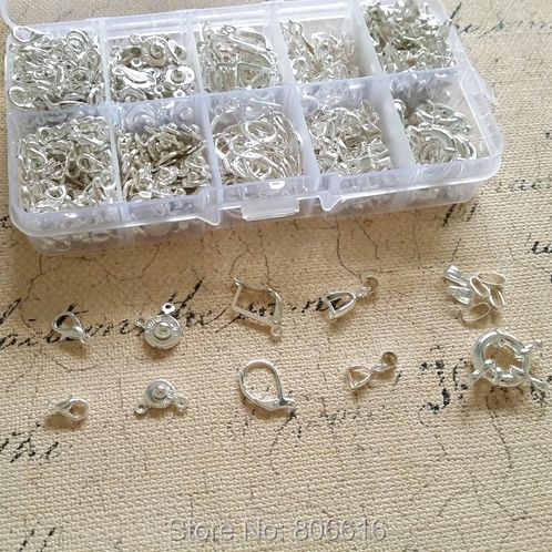 ( Silver - Clasps & Hooks ) 670Pcs/Set Mix 10 Styles Silver Plated Jewelry Hooks Clasps Jewelry Findings Accessories