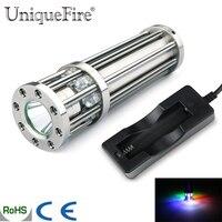 18650 sạc uniquefire đèn pin mini uf-f8 thép không gỉ bạc cree r5 led pocket lamp ánh sáng + một khe cắm bộ sạc