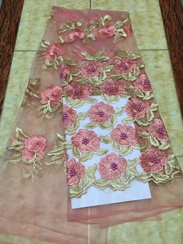 Newest African Tulle Lace Fabrics with Stones Embroidery Net Lace African French Lace High Quality with Beads Wedding CD1822 фото