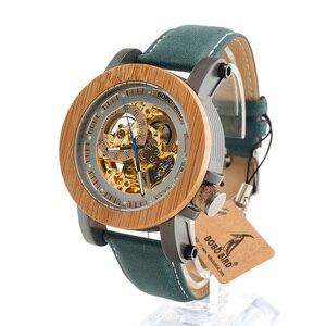 Image 4 - BOBO BIRD montre mécanique automatique K12, montre bracelet analogique de luxe en bois bambou, Style classique, avec acier, boîte en bois en cadeau