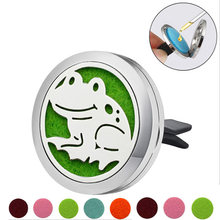 Frog shape Stainless Steel Car Air Freshener Perfume Essential Oil Diffuser Locket Random Send 1pcs Oil Pads Gift Girl Jewelry(China)