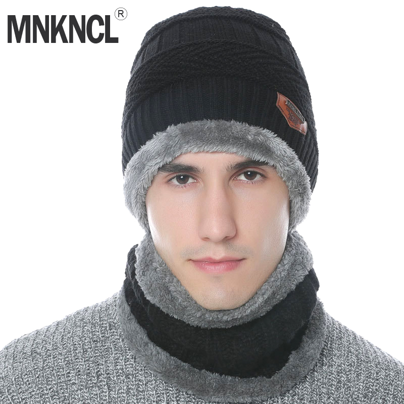 MNKNCL Balaclava Knitted Hat Scarf Cap Neck Warmer Winter Hats For Men Women   Skullies     Beanies   Warm Wool Dad Cap