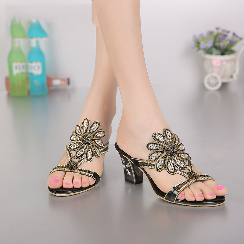 2017 New Women Fashion Diamond Sandals Thick With Slippers High Heel Elegant Shoes Top Quality the new type of diamond mother sandals lady leather fish mouth flowers with leather high heeled shoes slippers women shoes