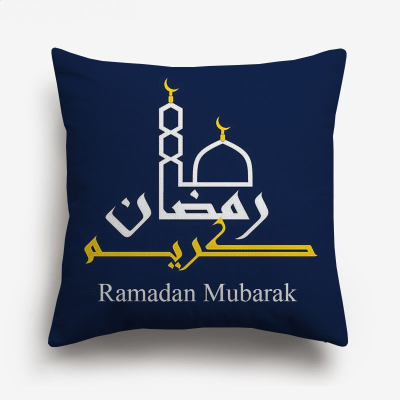 Ramadan Kareem Eid Mubarak Decorative Cushion Covers Islam Muslim Arabic Mosque Lantern Moon Cushion Cover Linen Pillowcase
