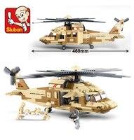 UH-60L Diều Hâu Đen Máy Bay Trực Thăng Bán Lẻ Sluban M38-B0509 Sản Phẩm Được Chứng Nhận 439 CÁI Building Blocks Học Giáo Dục Bé Đồ Chơi