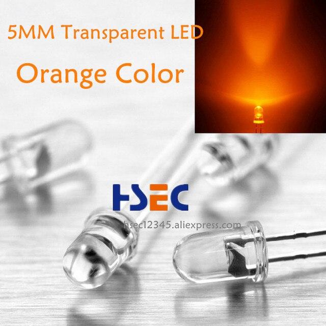 1000 pcs 5mm Trasparente led di Colore Arancione ha condotto la luce super luminoso emitting diode F5MM LED Arancione hanno 5 MILLIMETRI bianco rosso Verde Bule