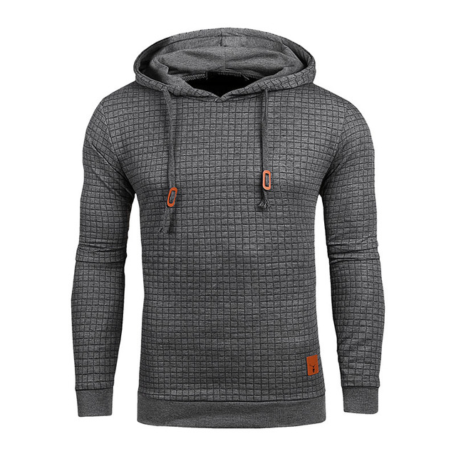 Winter Men's Hoodies Plaid Hoodies Pullover Sweatshirt Men Long Sleeve Solid Color Hoodie