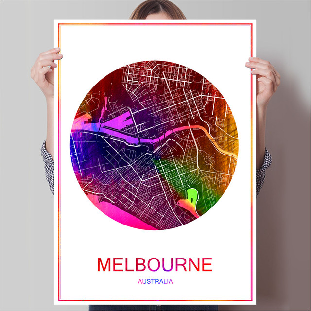 Melbourne australia world famous city map print poster print on melbourne australia world famous city map print poster print on paper or canvas wall sticker bar gumiabroncs Gallery