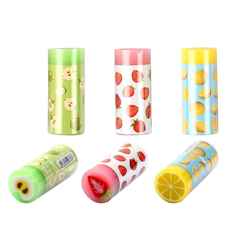 24 Pcs/Lot Colorful Fruit Eraser For Pencil Erasing Novelty Lemon Apple Stationery Office School Supplies Borracha Escolar A6385