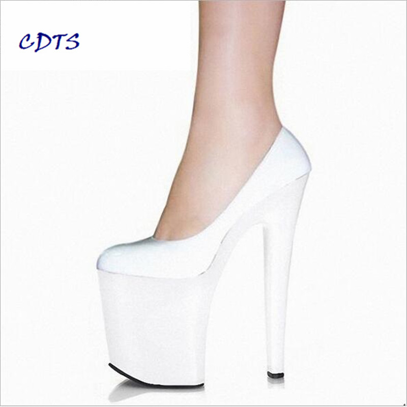LLXF Plus:35-45 46 2016 spring/autumn zapatos mujer Round Toe 20cm thin heels platform sexy shoes women wedding/bride pumps cdts plus 35 45 46 2016 spring summer 20cm ladies open toe ruffles thin high heels platform party pumps woman wedding shoes
