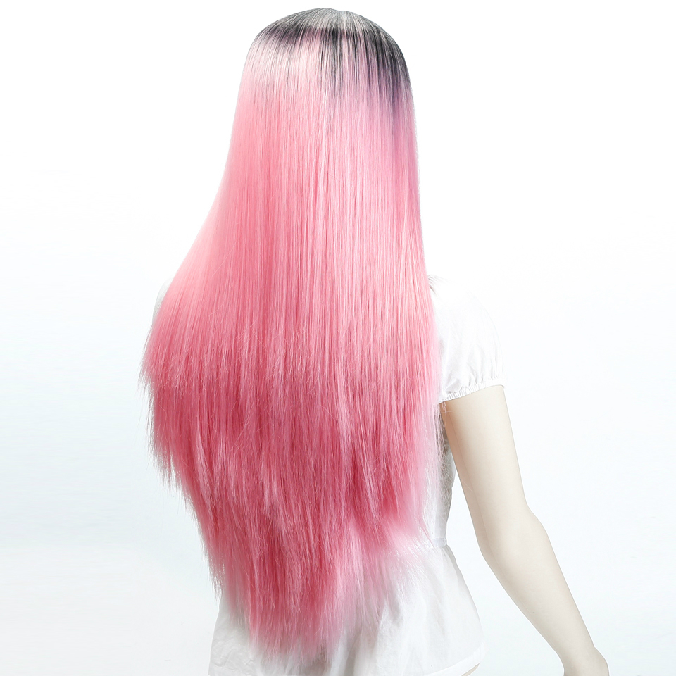 Ombre Pink Wigs Straight Long Length Wigs for Women Middle Part Wigs Dark Roots Heat Resistant Synthetic Wigs Allaosify