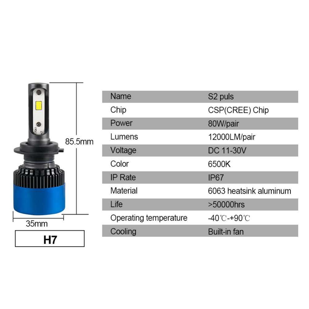 Aceersun H4 LED H7 Car Headlight Bulbs H11 9005 9006 HB4 H1 H3 HB3 Fog Bulbs 80W 12000LM High Low Beam Automobiles Lamp S2 Plus