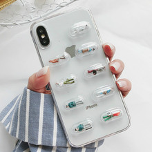 Phone Case Cute Stereoscopic Capsule Mobile Shell For iPhone X XS Max XR Transparent TPU Soft Case for iPhone7 8 6 6S Back Cover