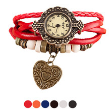 HF 2016 Quartz Weave Around Leather Bracelet Lady Woman Wrist Watch Gift relogio masculino Uhren relojes OC21 5Down
