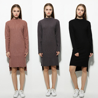 Fenghua Bodycon Autumn Winter Dress Casual Fashion Long Sleeve Ukraine Women Dress Vintage Slim Knitted Dresses